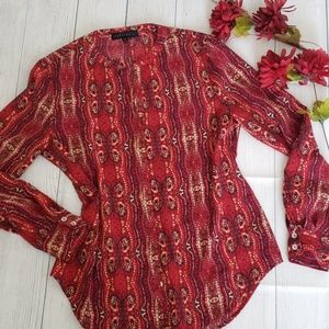 Sanctuary Print Scarf Red Cafe Blouse Small